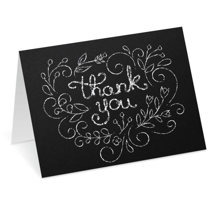 Chalkboard Heart Thank You Note Cards - BOGO