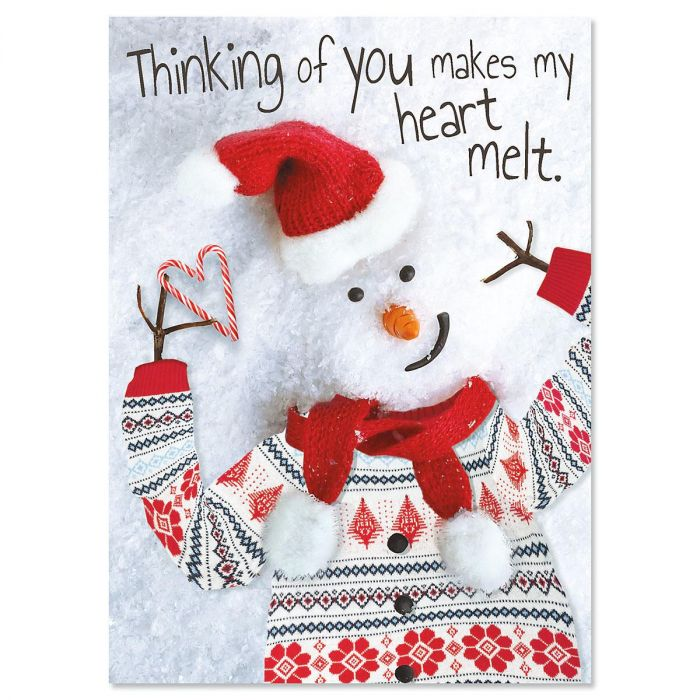 Modern Snowman Christmas Cards - Personalized