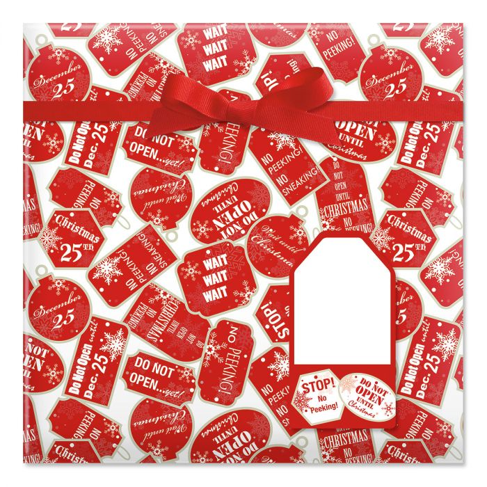 Red Tag Christmas Jumbo Rolled Gift Wrap and Labels