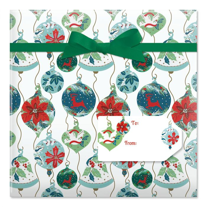 Antique Ornaments Jumbo Rolled Gift Wrap and Labels