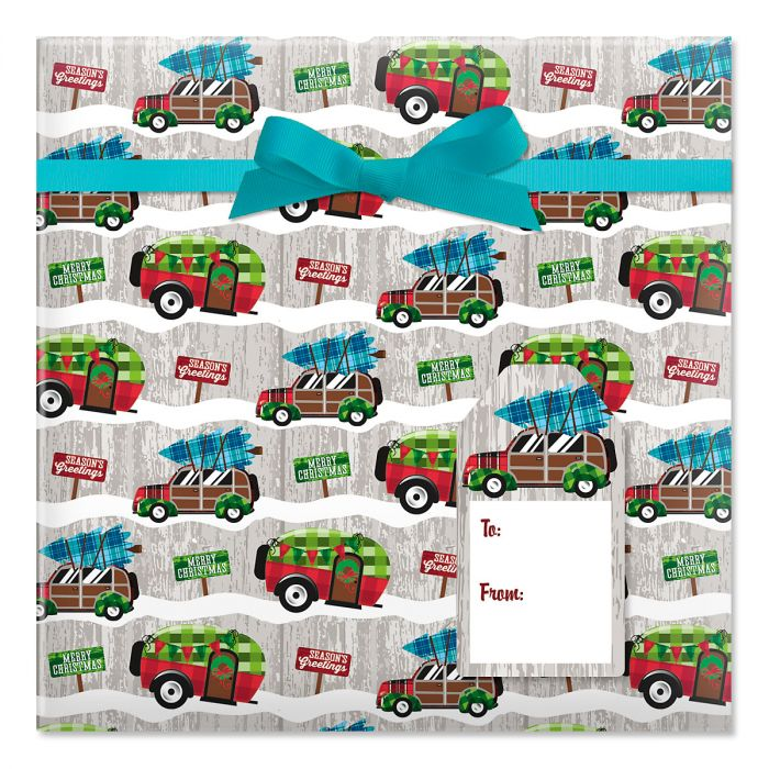 Christmas Camping Jumbo Rolled Gift Wrap and Labels