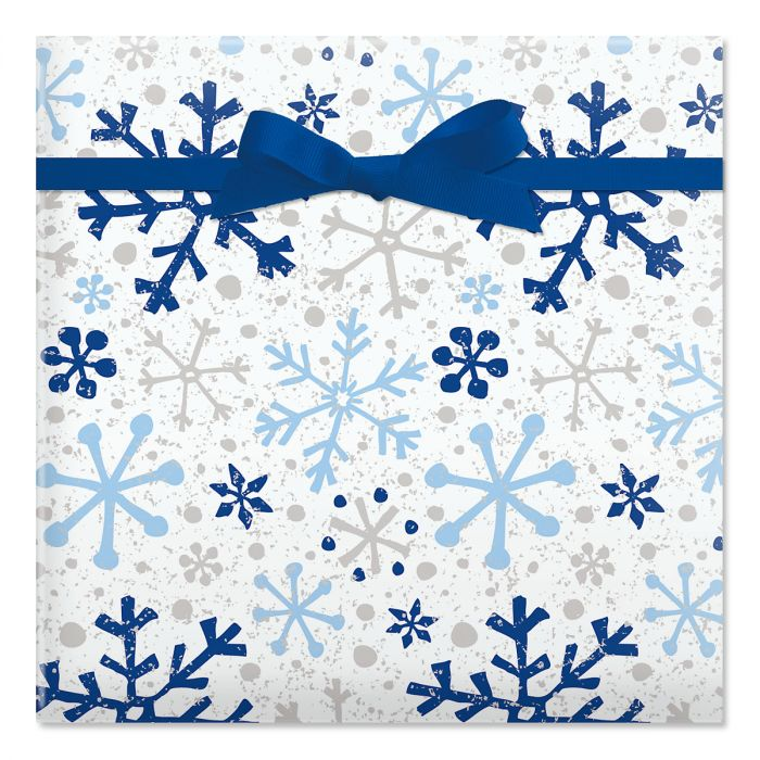 Silver and Blue Flurries Jumbo Rolled Gift Wrap