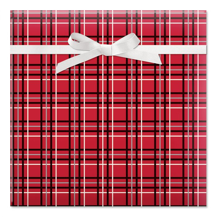 Offset Plaid Jumbo Rolled Gift Wrap