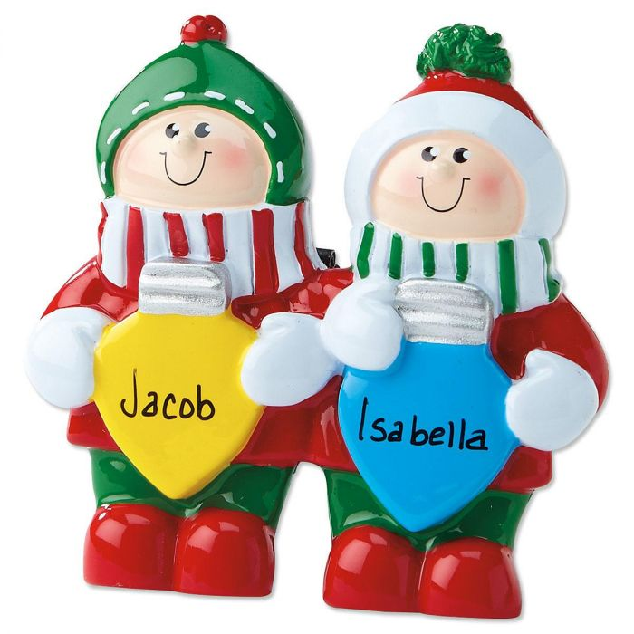 Colored Bulbs Tabletop Easel Personalized Christmas Ornaments