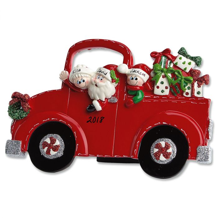 Red Truck and Santa Tabletop Easel Personalized Christmas Ornaments