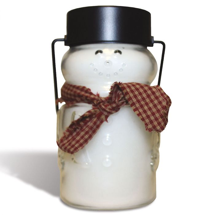 Scented Snowman Jar Candle - Red