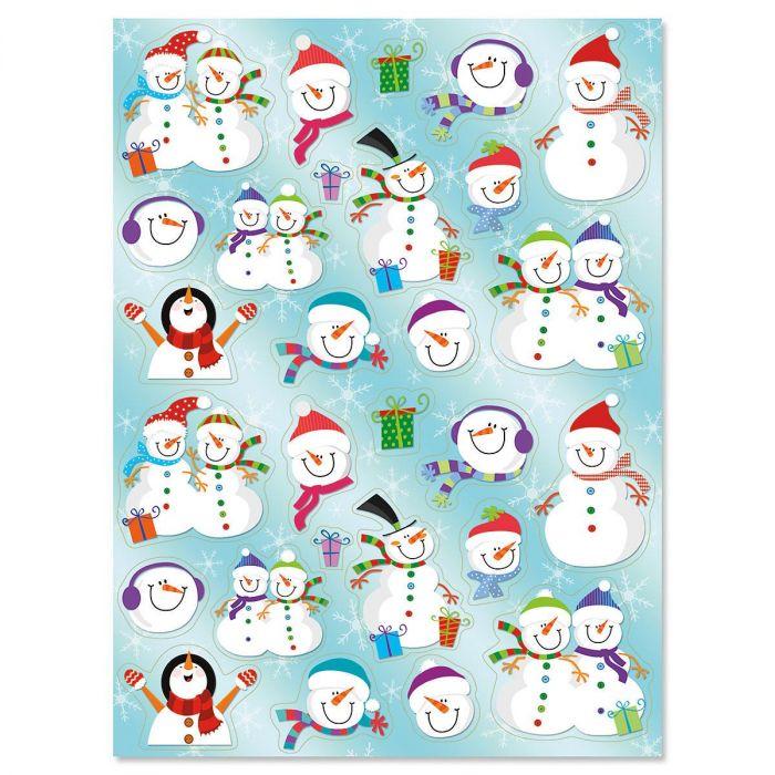 Snowmen in Hats Stickers