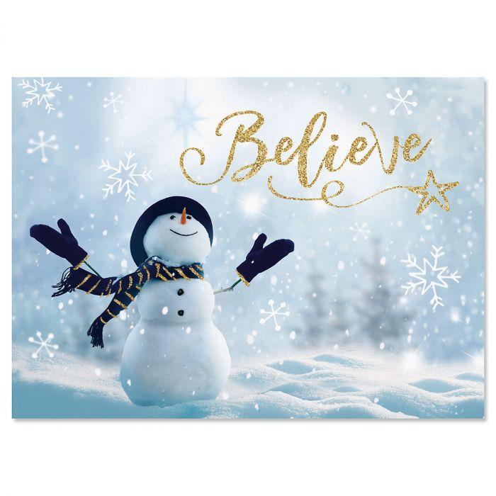 Believe Snowman Christmas Cards - Nonpersonalized