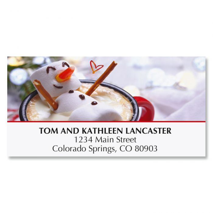 Marshmellow Snowman Deluxe Address Labels