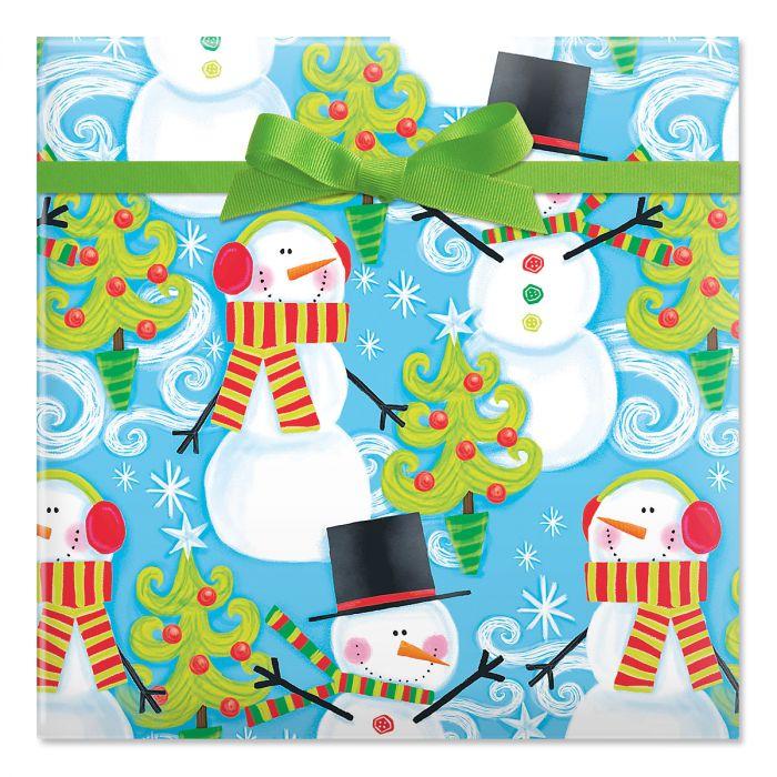 Swirly Snowman Jumbo Rolled Gift Wrap