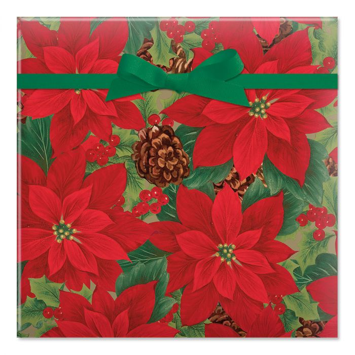 Pointsettia with Pinecones Jumbo Rolled Gift Wrap