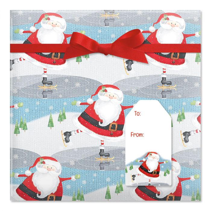 Nifty Santa Jumbo Rolled Gift Wrap and Labels