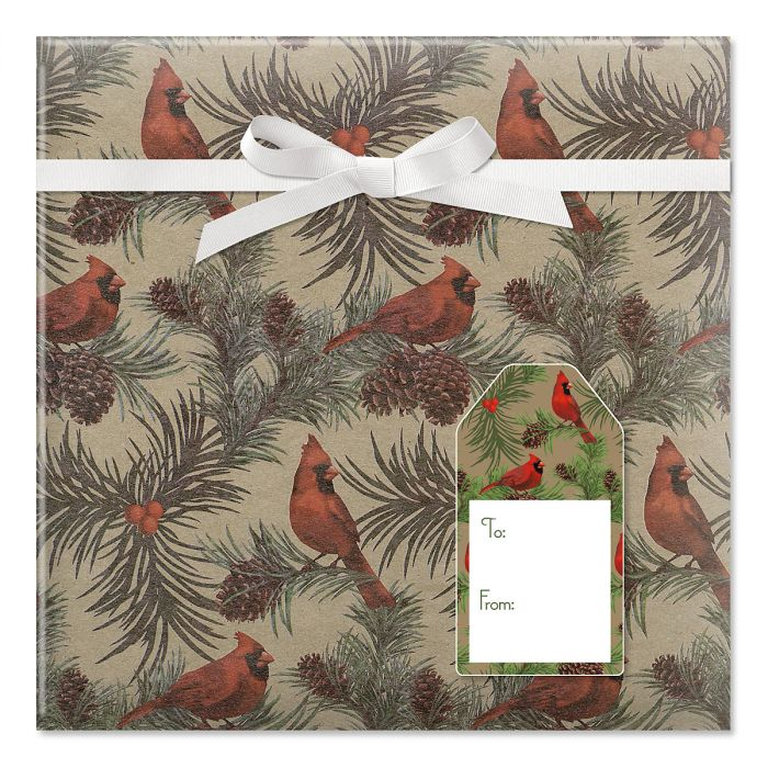 Cardinals Jumbo Rolled Gift Wrap and Labels
