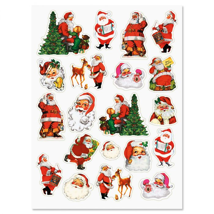 Retro Santa Stickers