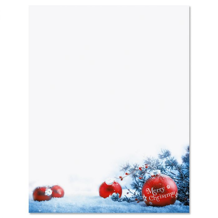 Snowy Ornaments Christmas Letter Papers