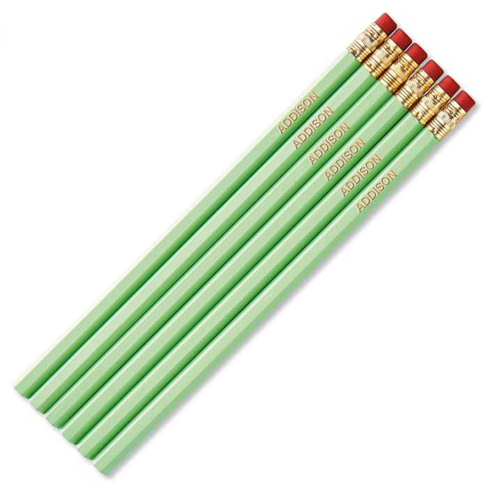 Pastel Green #2 Hardwood Personalized Pencils