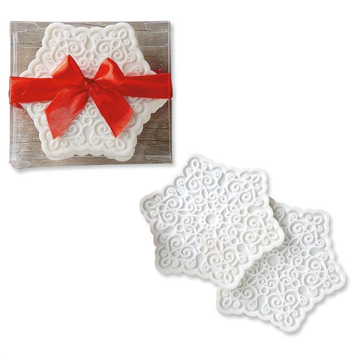White Snowflake Silicone Coasters