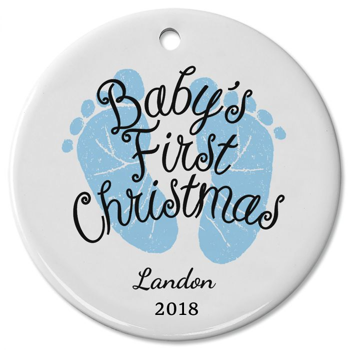 Baby Boy's First Personalized Christmas Ceramic Ornament