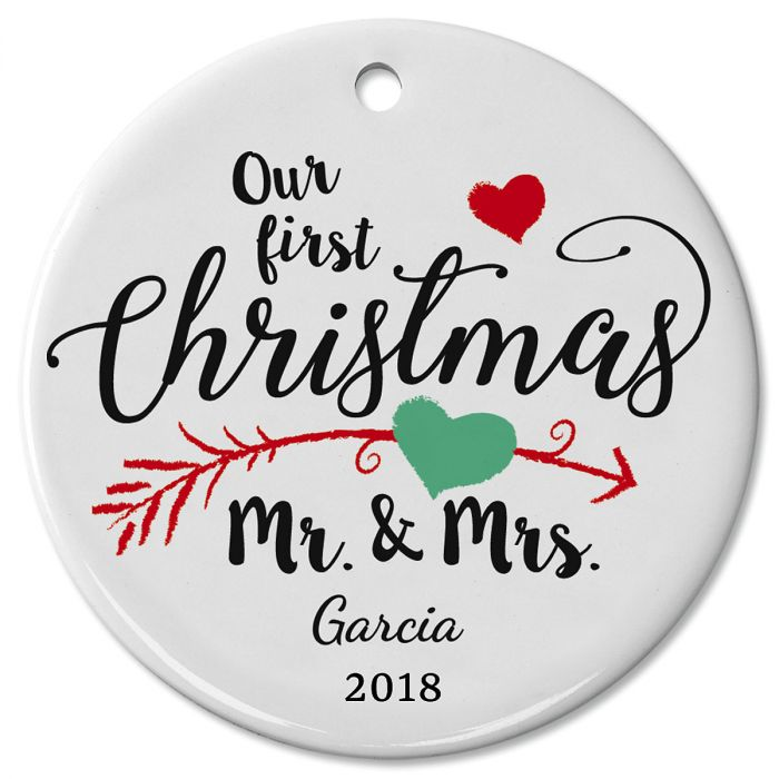 First Christmas as Mr & Mrs Wedding Ceramic Personalized Christmas Ornament