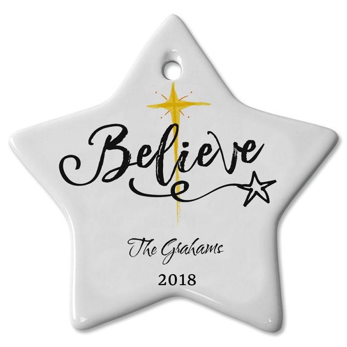 Personalized Believe Ceramic Christmas Ornament