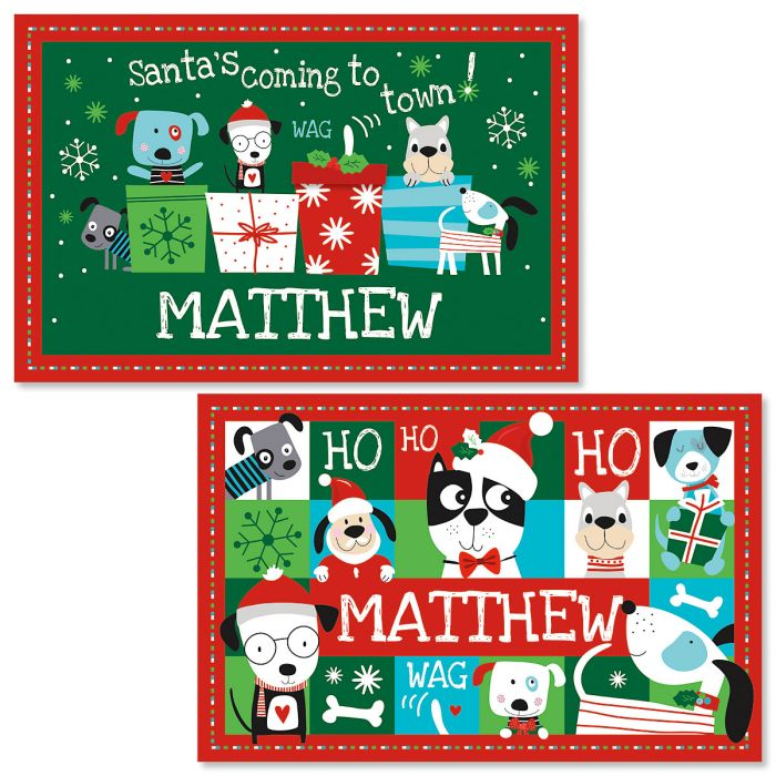 Personalized Christmas Dog Kids' Placemats