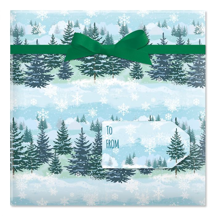 Christmas Forest Rolled Gift Wrap and Labels