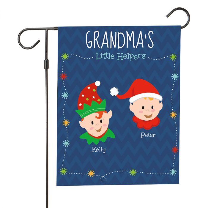 Personalized Holiday Elves Garden Flag - 2 Elves