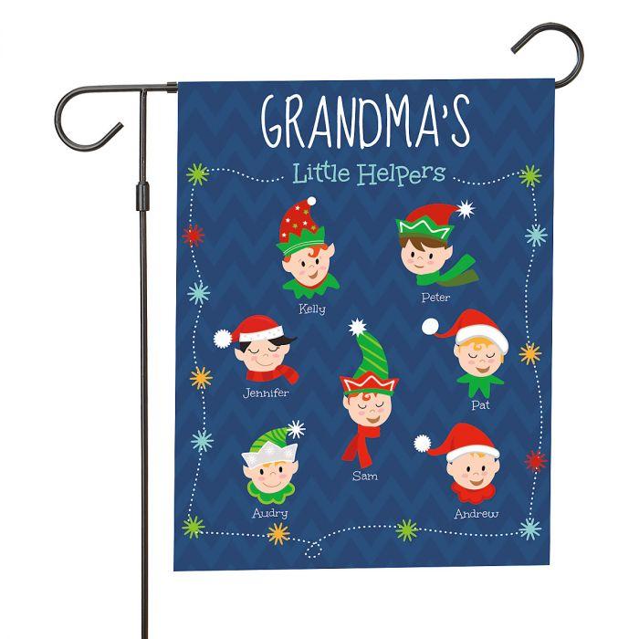 Personalized Holiday Elves Garden Flag - 7 Elves