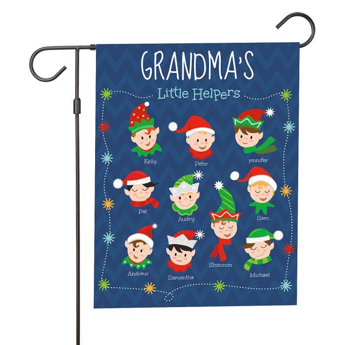 Personalized Holiday Elves Garden Flag - 10 Elves