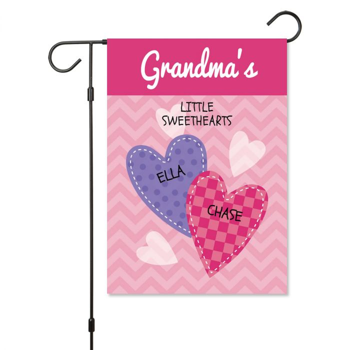 Personalized Valentine Garden Flag - 2 Hearts