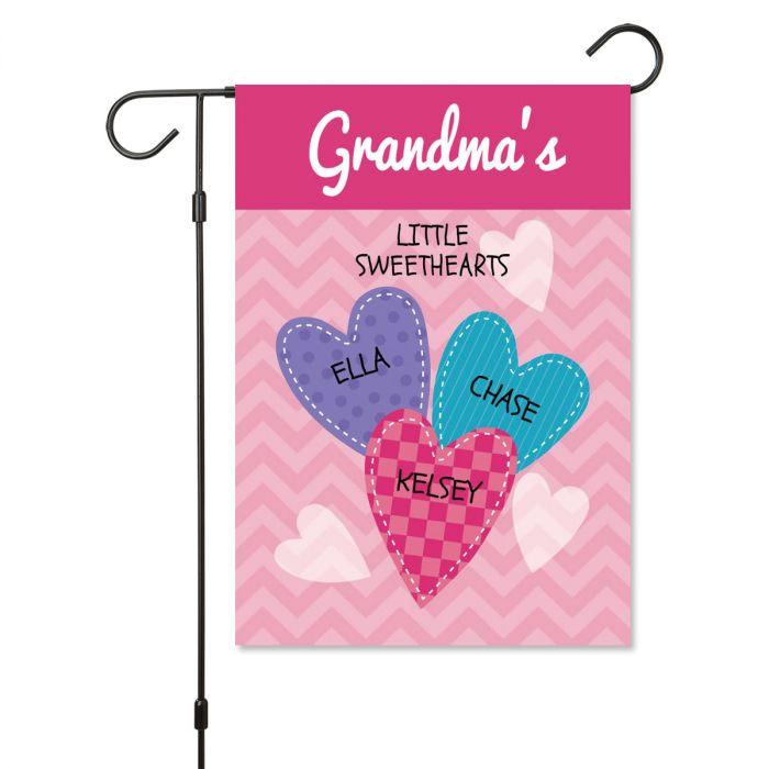 Personalized Valentine Garden Flag - 3 Hearts