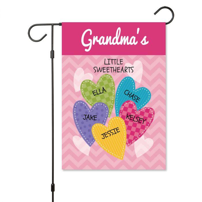 Personalized Valentine Garden Flag - 5 Hearts