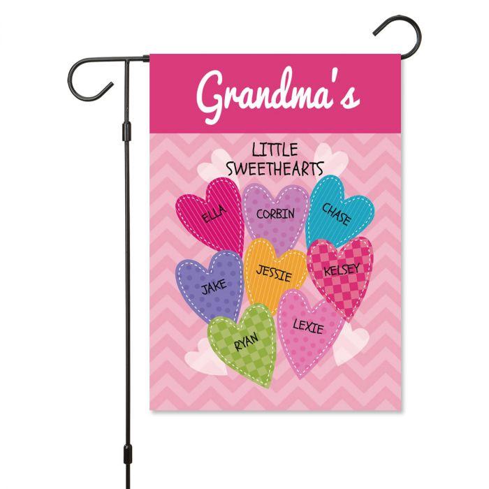 Personalized Valentine Garden Flag - 8 Hearts