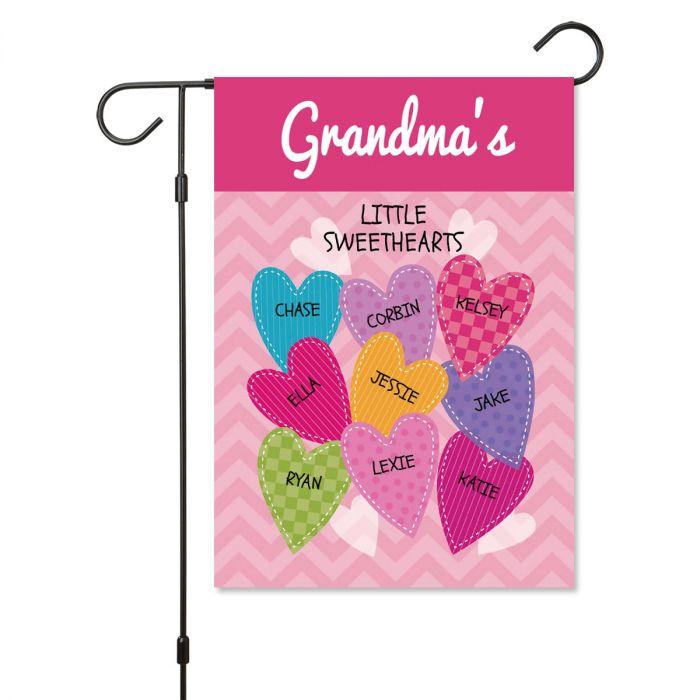 Personalized Valentine Garden Flag - 9 Hearts