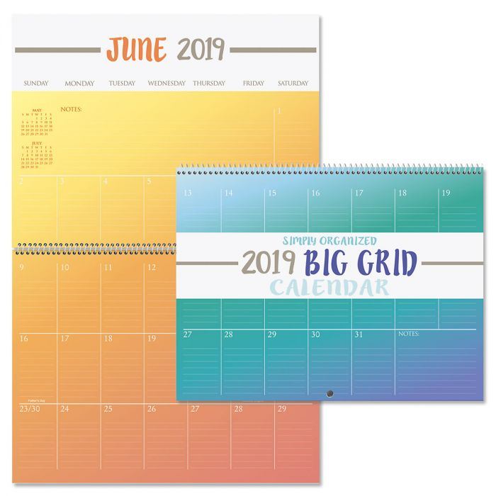 2019 Color Block Big Grid Planning Calendar