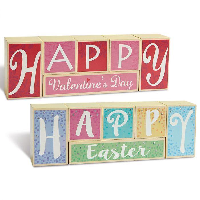 Valentine's/Easter Reversible Wood Block Set