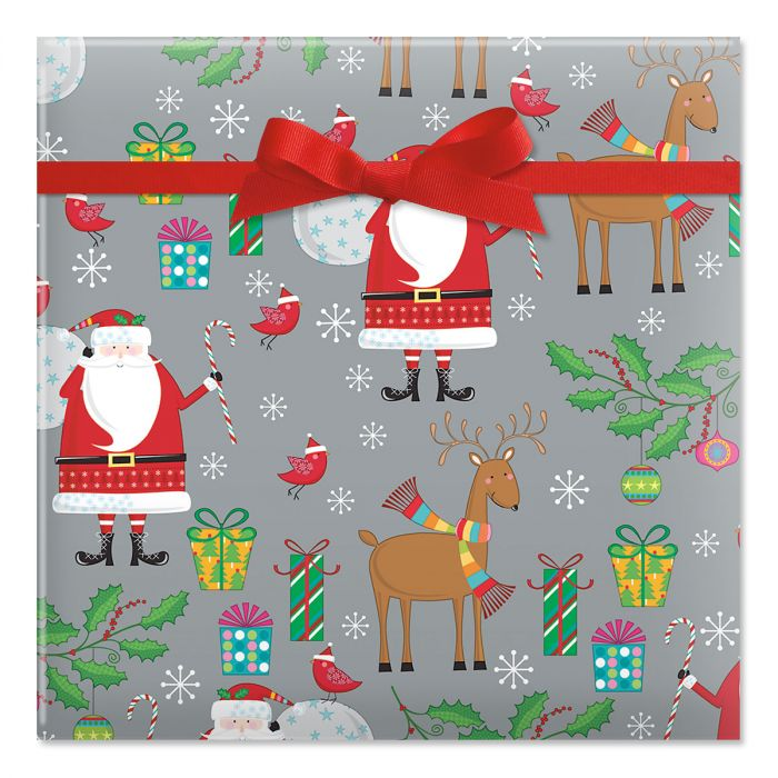 Classic Santa & Reindeer on Silver Rolled Gift Wrap