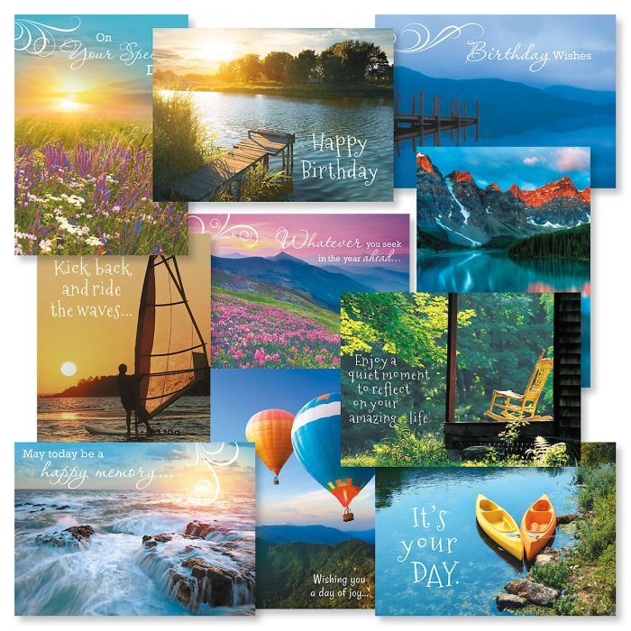 Scenic Birthday Greeting Cards Value Pack