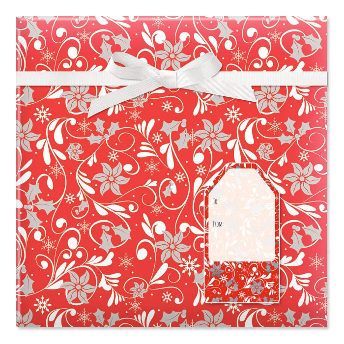Red Fantasia Jumbo Rolled Gift Wrap and Labels