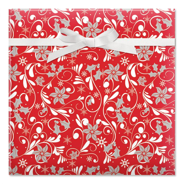 Red Fantasia Jumbo Rolled Gift Wrap