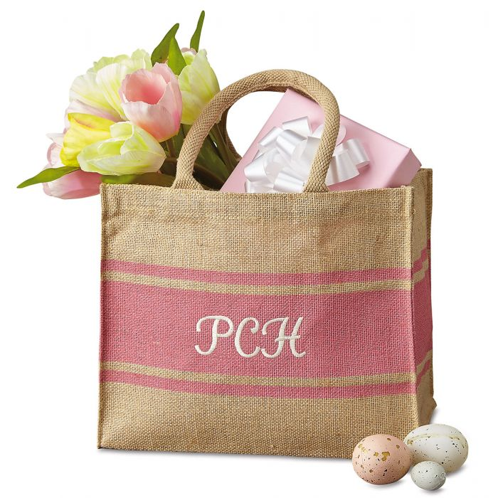 Personalized Pink-Stripe Tote Bag