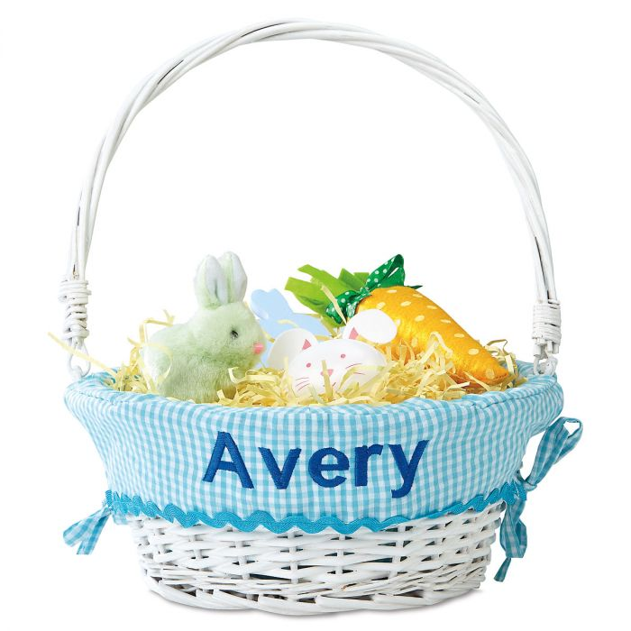Personalized Wicker Easter Basket with Aqua Liner