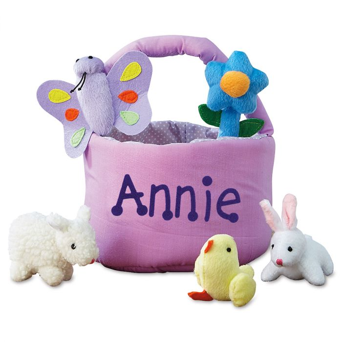 Kids Personalized Easter Basket with 5 Plush Toys