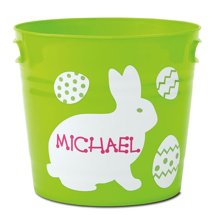 Kids Personalized Green Easter Bucket