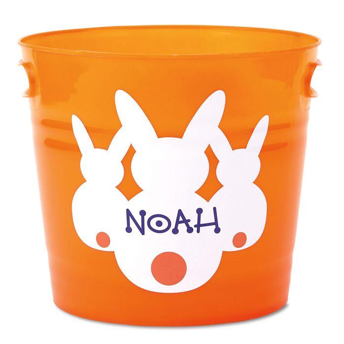 Kids Personalized Orange Easter Bucket