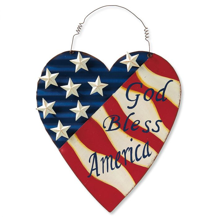 God Bless America Metal Heart Sign
