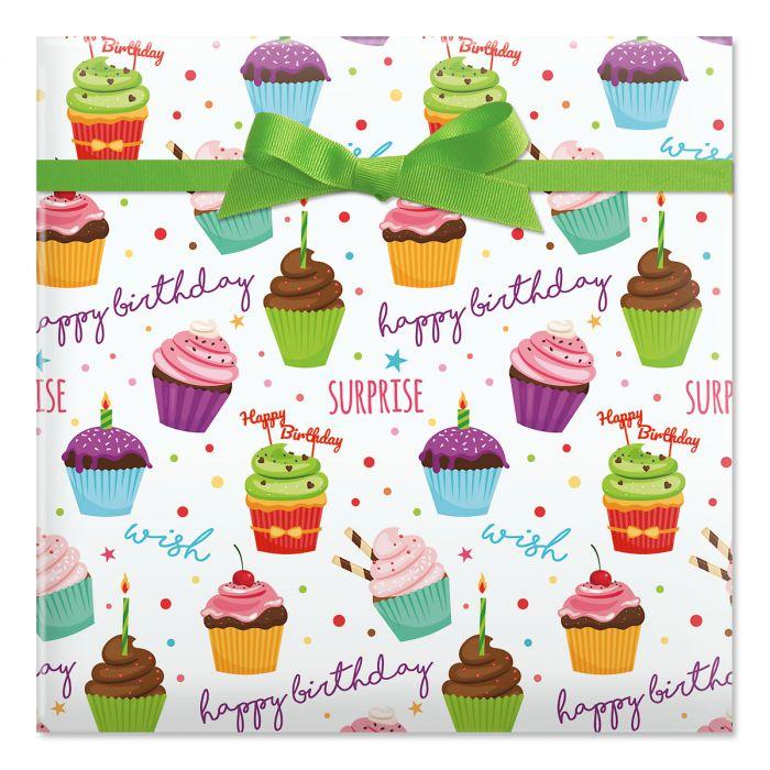 Birthday Cupcakes Jumbo Rolled Gift Wrap