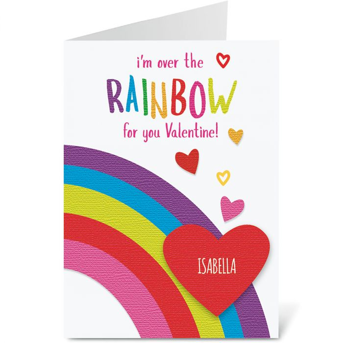 Rainbow Personalized  Valentines Cards