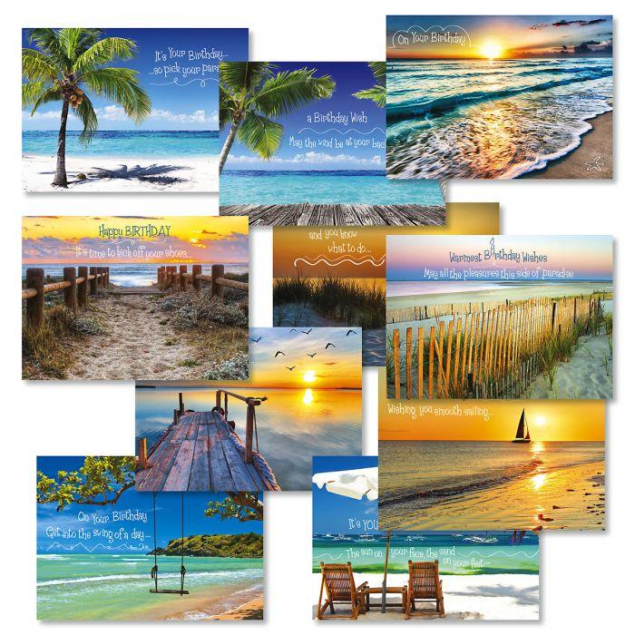 Coastal Birthday Greeting Cards Value Pack