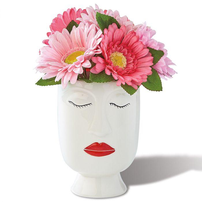 Ceramic Face Vase - Lips